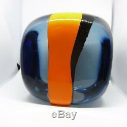Large Venini Pierre Cardin Murano Glass Orange And Clear Cube
