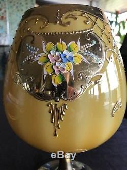 Large Vintage Hand Blown Venetian MURANO Glass Tazza Goblet 11 Encrusted Gold