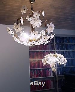 Large White CHANDELIER with hand blown Murano Glass Flowers Italy 1970s