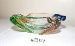 Large vintage hand blown Murano art glass cigarette cigar ashtray Italy rainbow