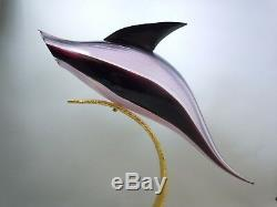 Licio Zanetti Italian Murano Art Glass Jumping Dolphin Golden Arc Sculpture