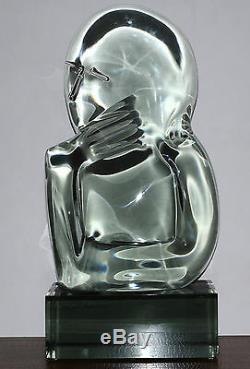 Loredano Rosin Original Murano Smoky Quartz Glass Sculpture of'Thinker' 20th C