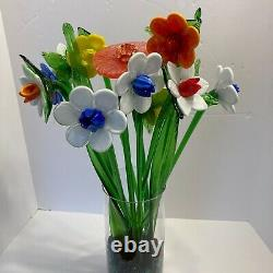 Lot of 11 Vintage Long Stem Murano Style Colorful Art Glass Flowers & 2 Leaves