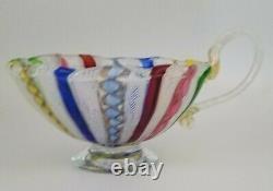 Lot of 3 Murano Italian Latticino Art Glass Pieces, 2 Bowls, 1 Vase, Italy