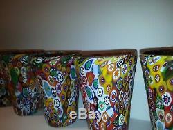 Lot of 6 Murano Glass Tumbler Drinking Multicolor Millefiori Hand Blown