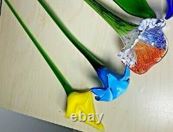Lot of 6 Vintage Hand Blown Art Glass Long Stem Flowers Colorful Bouquet Murano
