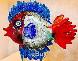 Lovely Hand Blown Fish Sculpture Murano Art Glass Master Costantini Signed 11.5