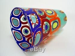 Lovely Signed Murano Fornace Formentello 7.8 Colourful Art Glass Bucket Vase