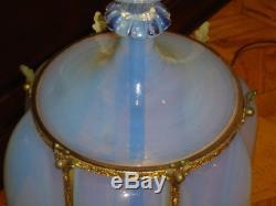 MARBRO-MURANO BLUE OPALESCENT GLASS BRASS HUGE LAMP Barovier hand-blown 1950