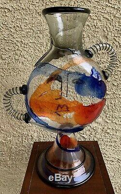 MARIO BADIOLI MURANO ART GLASS FACE VASE 22 PICASSO STYLE Signed With Label