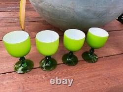 MCM Carlo Moretti Murano Empoli 4 NEON GREEN Large Wine Water Goblets Glasses
