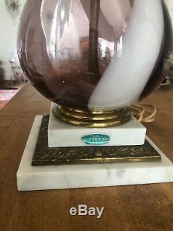 MID CENTURY MODERN HAND BLOWN MURANO Amethyst SWIRL GLASS Marble TALL LAMP