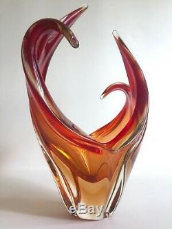 MID Century Modern Murano Art Glass Red Orange Flame Sculptural Centerpiece Bowl