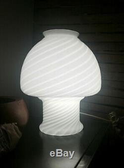MID Century Vetri Murano Swirl White Glass Table Lamp
