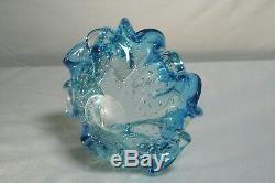 MURANO BOWL 3 FLOWER ARCHIMEDE SEGUSO BLUE COLOR Vintage AWESOME COLOR BUBBLES