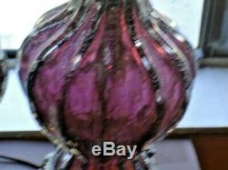 MURANO GLASS PAIR AMETHYST-SILVER Barovier & Toso Lamps Italy HAND BLOWN RARE