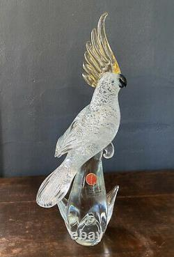 MURANO Glass FORMIA Italy BIRD Gold Sulfur Crested PARROT Silver Flake VTG TAGS