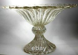 MURANO Glass Ribbed Footed Bowl hand blown Gold Infused Art Glass