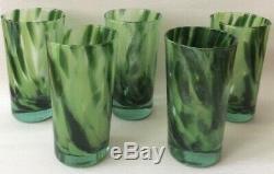 MURANO Green Swirl Heavy Drinking Glasses (6) Hand Blown Italian Art Glass 12oz
