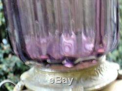 MURANO HAND BLOWN GLASS RARE Purple Amethyst COLOR RIBS FLAKES BIG LAMP