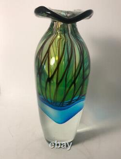 MURANO Hand Blown Art Glass Multi-Color Vase 10H 8.6 Pounds