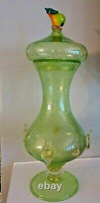 MURANO ITALY Glass Salviati Barovier Blown Glass Gold PRUNT Canister Pear Handle