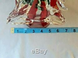 MURANO Italy Glass 20 1/2 Crystal CHRISTMAS TREE Sculpture Red Interior