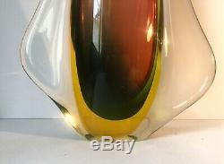 MURANO SOMMERSO SEGUSO FLAVIO POLI GLASS VASE, Large MCM Art Glass Vase 15