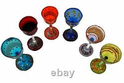 MURANO Venetian Hand Blown Small Decorated Goblets Cordial Glasses Set of Six