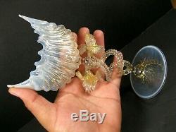 MURANO Venetian Small Stemmed Shell Shape glass Vase