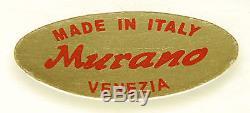 MURANO White & Red Hand Blown Glass Art Deco Italian TALL VASE RARE