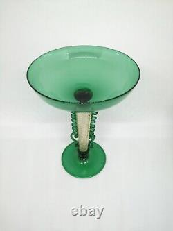 MURANO green goblet handmade by Davide Fuin