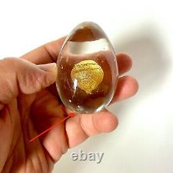 Medium 2 5/8 Inch Venini Egg With A Gold Leaf Yoke, Designed by Tapio Wirkkala