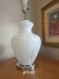 Mid Century Italian Hand Blown Murano Glass and Chrome Table Lamp