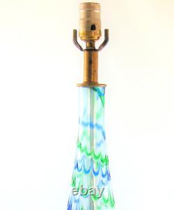 Mid Century Italian Murano Hand Blown Glass Lamp 26H