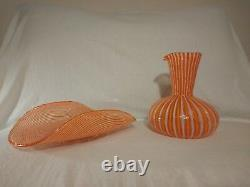 Mid-Century MURANO Guildcraft Hand-blown Glass Carafe Pitcher Decanter with Tray