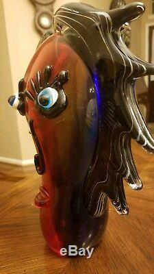 Mid Century Modern Large Hand blown Murano Style Glass Art Face