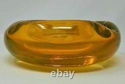Mid Century Modern Murano Yellow Heavy Glass Ashtray