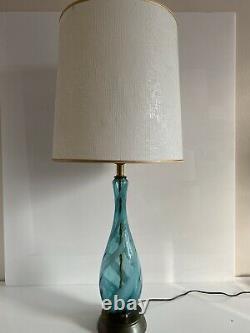 Mid-Century Murano Glass Italian Swirl Ribbon Hand Blown Lamp Aqua