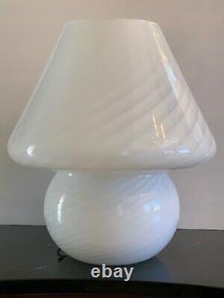 Mid Century Murano Vetri Italian White Blown Glass Mushroom Lamp 16 High