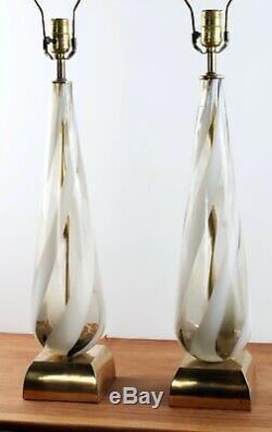 Mid Century Vintage Murano Swirl Ribbon Hand Blown Glass Italian Pair Table Lamp