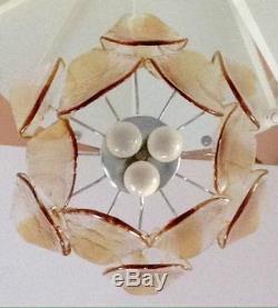 Mid-century 1970 Murano amber 12 disc glass hand blown vistosi chandelier rare