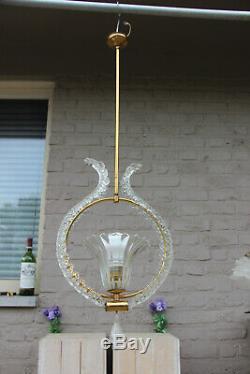 Mid century Barovier toso hand blown murano glass pendant lamp chandelier 1970