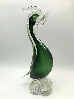 Mid-century Hand Blown Murano Art Glass Green Duck