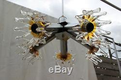 Mid century Sputnik Atomic MAzegga Murano hand blown amber glass chandelier