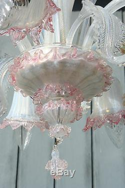 Mid-century venetian MURANO hand blown glass Chandelier 5 arms marked 1970's