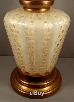 Monumental Huge Vintage Murano Italian Art Glass Lamp Gold Bubbles Barovier Toso