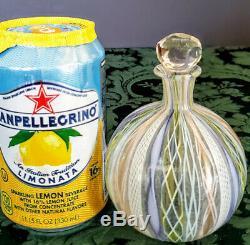 Muarno Salviati Artisti Barovier Venetian Silver Leaf Ribbon Art Glass Vase Rare