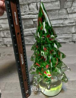 Murano 12 Clear Red Green Hand Blown Art Glass Christmas Tree Figurine Decor