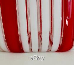 Murano A Canne Vertical Red & White Art Glass Bottle Decanter & Stopper MCM